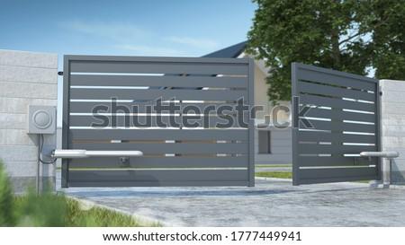 Automatic double-leaf gate, 3D illustration Stockfoto ©