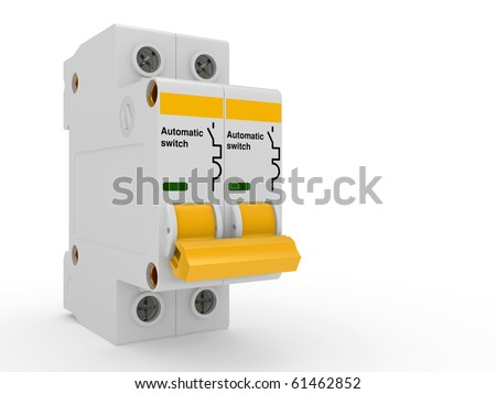 Automatic electricity switch.  3d model isolated on a white