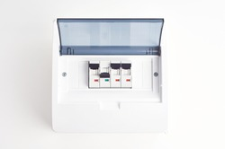 Automatic fuses in closed fusebox. Small electrical distribution box.