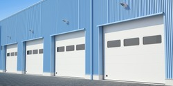 Automatic gates in the industrial building, 3D illustration