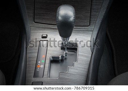 Automatic gearbox lever; Automatic transmission gearshift stick; Close-up view #786709315