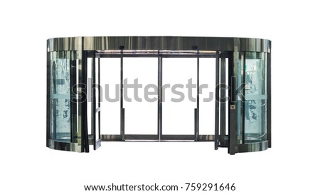 automatic glass door isolated on white background #759291646