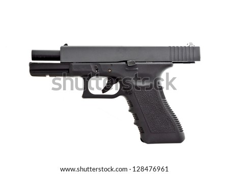 automatic hand gun on white background, unloaded position