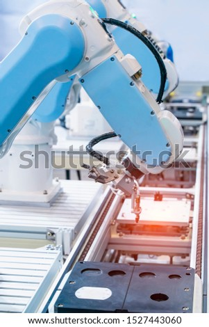 automatic machine tool in industrial manufacture factory,Smart factory industry 4.0 concept.
