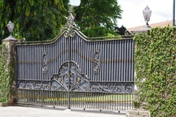 Automatic metal gate with beautiful design. Metal work, automation.