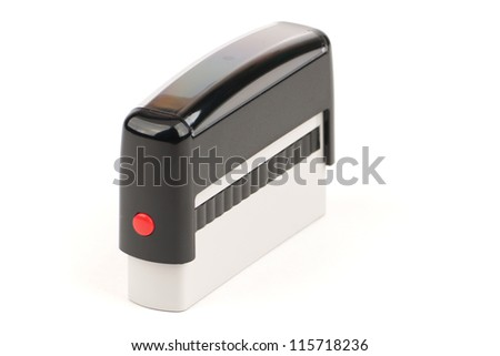 Automatic seal with red button on white