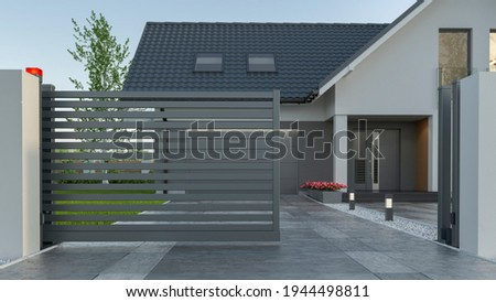 Automatic Sliding Gate and house, 3d illustration  Stockfoto ©