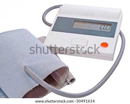 automatic tonometer isolated on white - stock photo