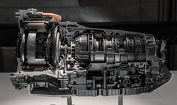 Automatic transmission gearbox. Automobile transmission gearbox in sections.