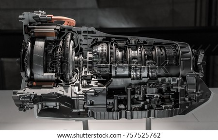 Automatic transmission gearbox. Automobile transmission gearbox in sections. #757525762