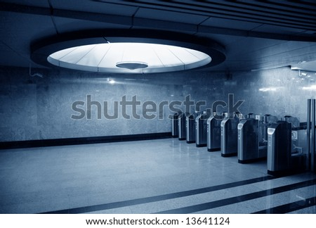 automatics on entrance in subway station