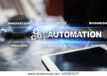 Automation concept as an innovation, improving productivity, reliability and repeatability in technology and business processes. #632083577