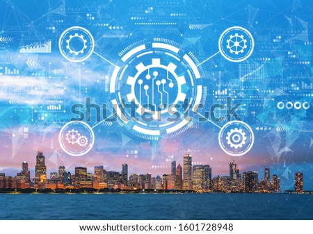 Automation concept with downtown Chicago cityscape skyline with Lake Michigan