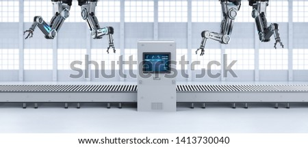 Automation factory concept with 3d rendering robot assembly line with empty conveyor belt