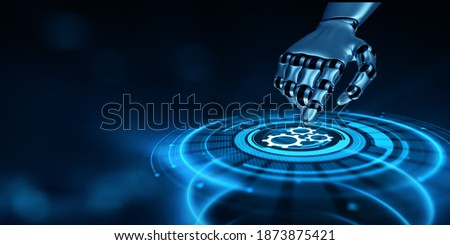 Automation RPA Workflow business industrial process optimisation. Innovation technology concept. Robotic hand pressing button 3d render.