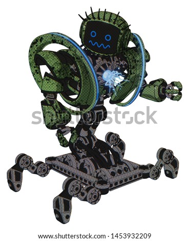 Automaton containing elements: digital display head, stunned expression, eye lashes deco, heavy upper chest, heavy mech chest, spectrum fusion core chest, insect walker legs.