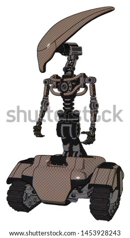 Automaton containing elements: flat elongated skull head, light chest exoshielding, no chest plating, tank tracks. Material: Khaki halftone. Situation: Standing looking right restful pose.