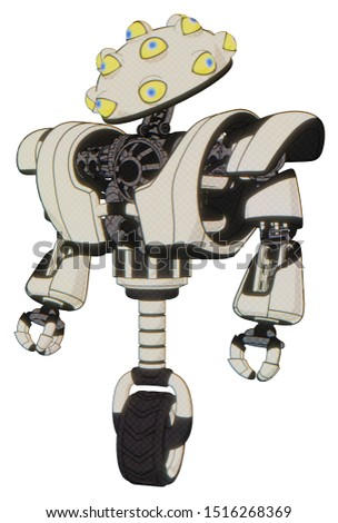 Automaton containing elements: many-eyed monster head design, heavy upper chest, heavy mech chest, unicycle wheel. Material: Yellowed old plastic. Situation: Standing looking right restful pose.