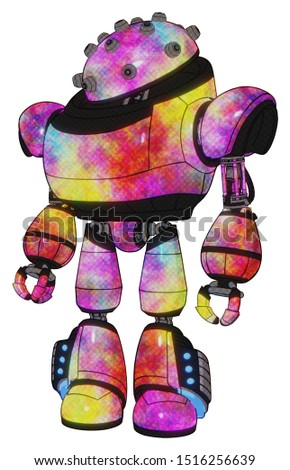 Automaton containing elements: plughead dome design, heavy upper chest, light leg exoshielding, megneto-hovers foot mod. Material: Plasma burst. Situation: Standing looking right restful pose.
