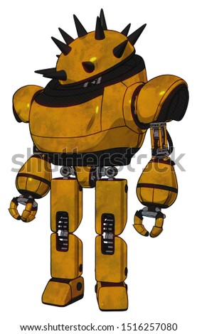 Automaton containing elements: thorny domehead design, heavy upper chest, prototype exoplate legs. Material: Worn construction yellow. Situation: Standing looking right restful pose.