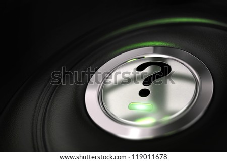 automobile button with question mark symbol over black background