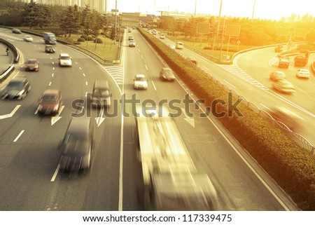 Automobile congestion in rush hour,Busy highway