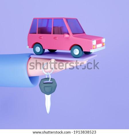 Automobile dealer, buy or rent car. Hand hold car keys. Modern 3D illustration