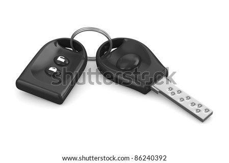 Automobile key and alarm system on white background. Isolated 3D image
