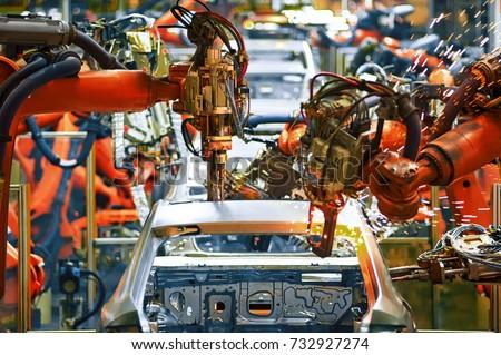 Automobile production arm welding line