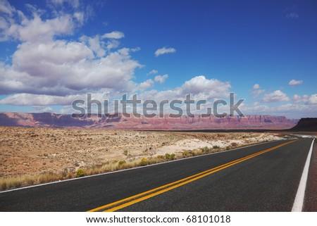 Automobile road to desert in California.