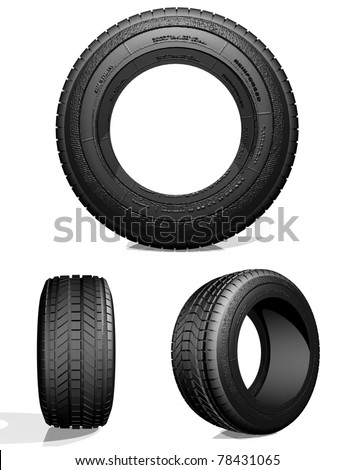 Automobile tire, the view from three sides on a light background, 3d image