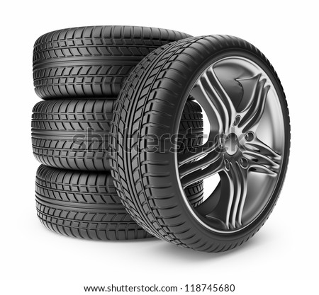 Automobile tire. Wheel 3D, Icon isolated on white background