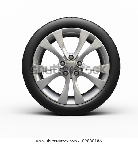 Automobile tires and wheels (3d rendering, isolated on white and clipping path)