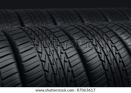 Automobile tires perspective view (depth of field and close-up)