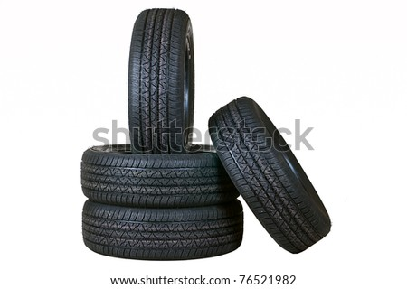 Automobile tyre covers from rubber the seasonal complete set on a white background