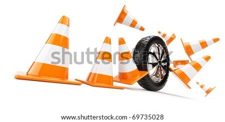 Automobile wheel has collided cones. 3d isolated
