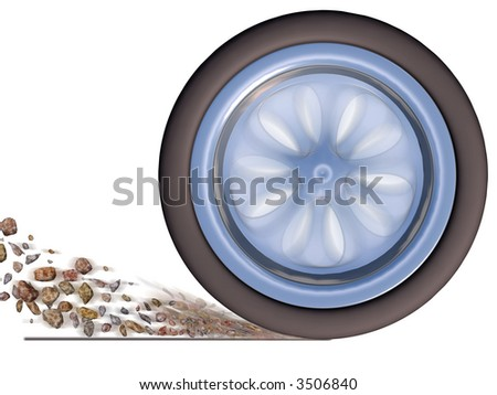 Automobile wheel in movement isolated on a white background