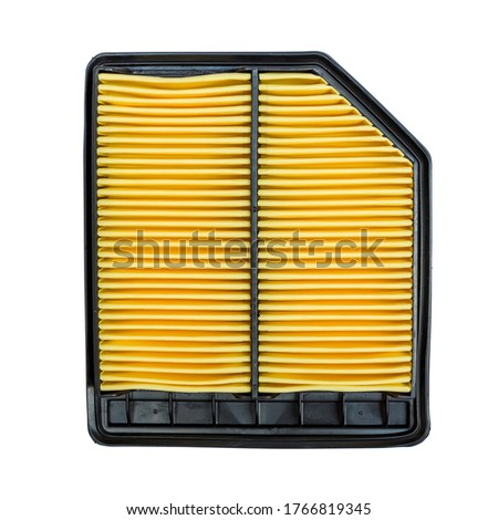 Automoble Yellow Air Filter Isolated on White Background. Auto Spair Parts.  Zdjęcia stock ©