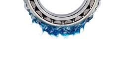 Automotive and Industrial close up grease, Blue Lithium (NLGI 3) bright grease put on bearing and isolated on white background with clipping path