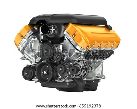 Automotive engine gearbox assembly without shadow on white background 3D