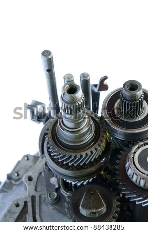 automotive gearbox component close up on isolated white background