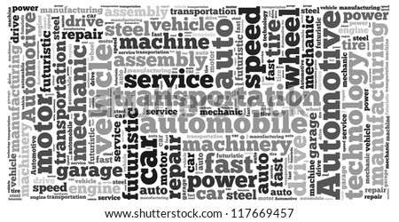 Automotive info-text graphics and arrangement concept on white background (word cloud)