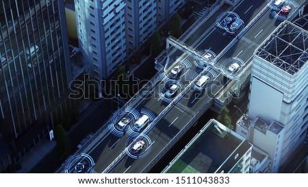 Automotive sensing system concept. Autonomous car. Driver assistant system. Adaptive cruise control.  Stockfoto ©