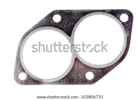 automotive steel gasket for the exhaust system (intake pipe) isolated on white