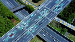 Automotive technology concept. ITS (Intelligent Transport Systems). ADAS (Advanced Driver Assistance System). ACC (Adaptive Cruise Control). *Video version available in my portfolio.