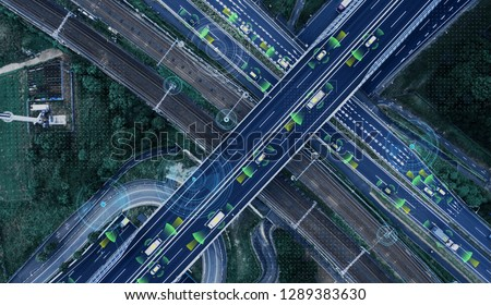 Automotive technology concept. ITS (Intelligent Transport Systems). ADAS (Advanced Driver Assistance System).