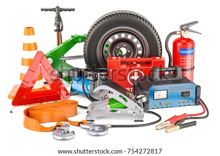 Automotive tools, equipment and accessories. 3D rendering