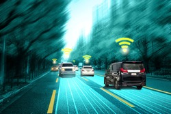 Autonomous car sensor system concept for safety of driverless mode car control . Future adaptive cruise control sensing nearby vehicle and pedestrian . Smart transportation technology .