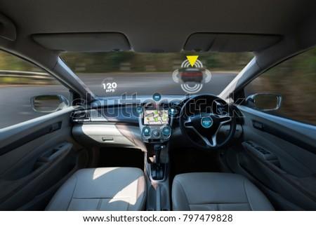 autonomous driving car and digital speedometer technology image visual