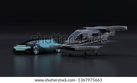 Autonomous electric car and passenger drone parking on black background. MaaS concept. 3D rendering image.